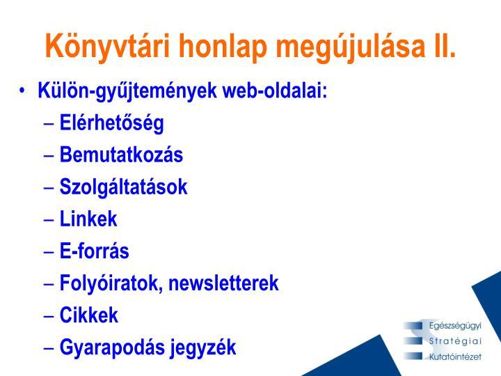 Könyvtári honlap megújulása II.