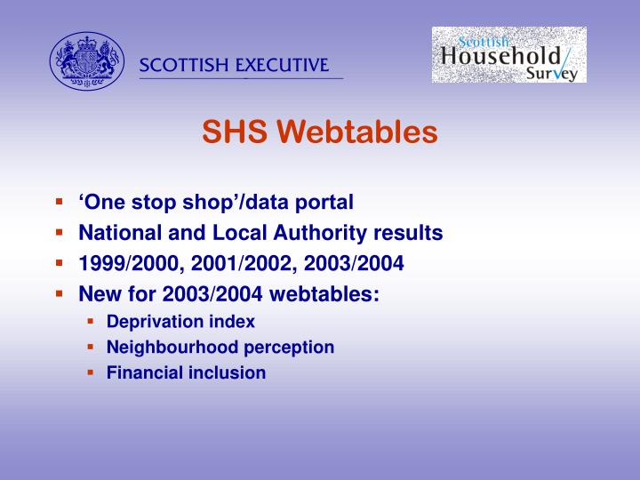 SHS Webtables