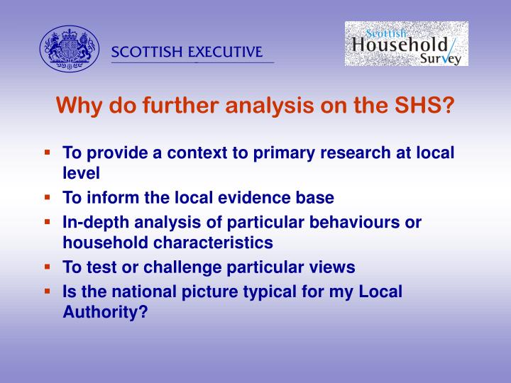 Why do further analysis on the SHS?