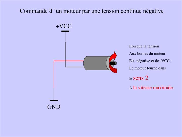 Commande d'un moteur par une tension continue négative