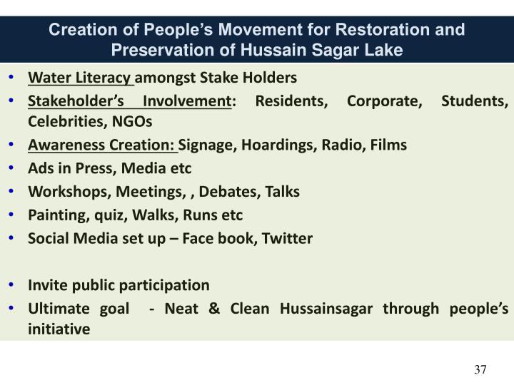 Creation of People's Movement for Restoration and Preservation of