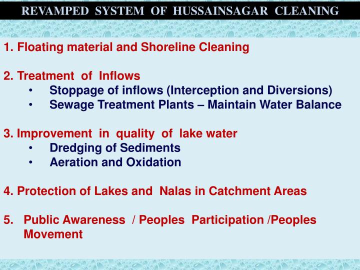 REVAMPED  SYSTEM  OF  HUSSAINSAGAR  CLEANING