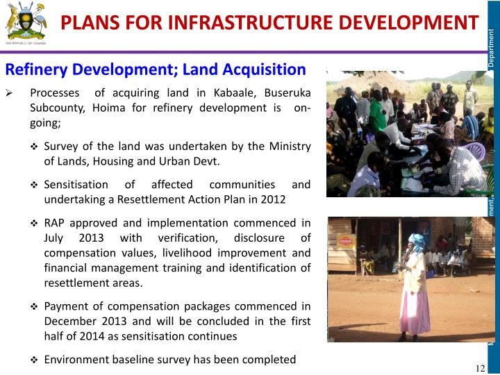 PLANS FOR INFRASTRUCTURE DEVELOPMENT
