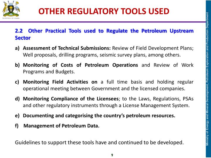 OTHER REGULATORY TOOLS USED
