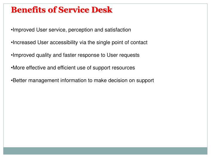 Benefits of Service Desk