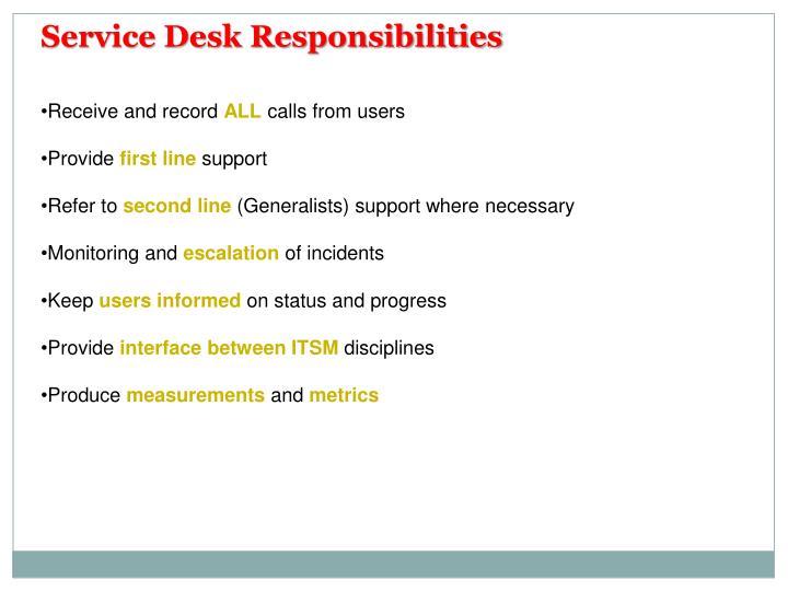 Service Desk Responsibilities