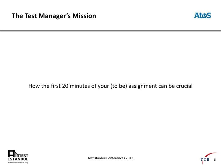 The Test Manager's Mission