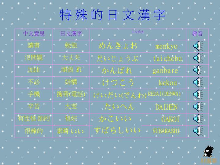 特 殊 的 日 文 漢 字