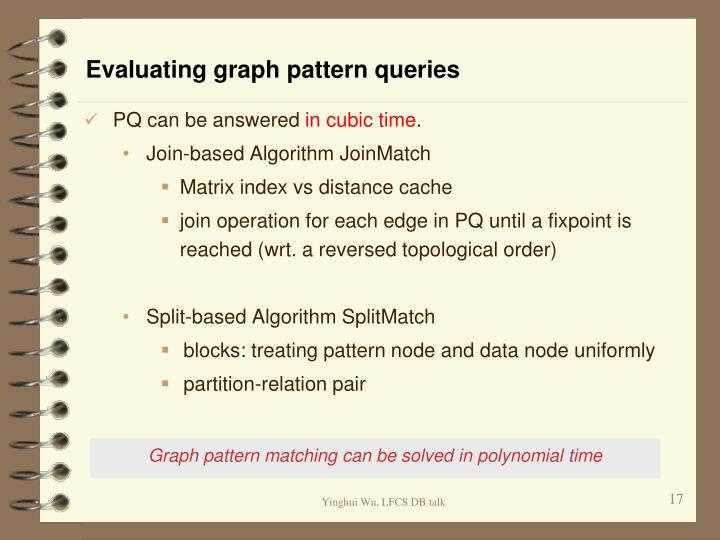 Evaluating graph pattern queries