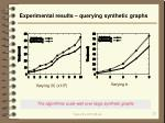 experimental results querying synthetic graphs