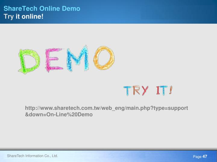 ShareTech Online Demo