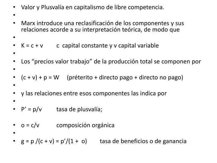 Valor y Plusvalía en capitalismo de libre competencia.
