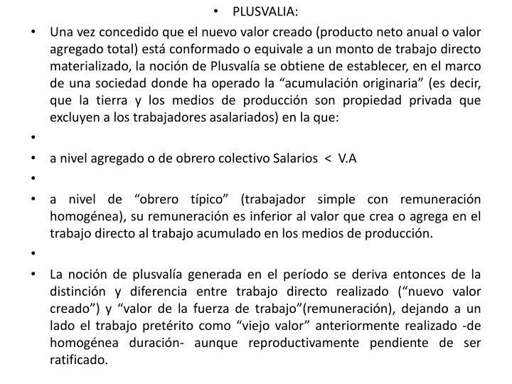 PLUSVALIA: