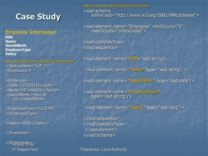XML Schema for the Employee Information