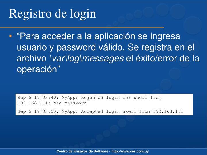 Registro de login