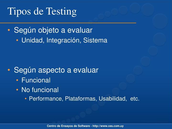 Tipos de Testing