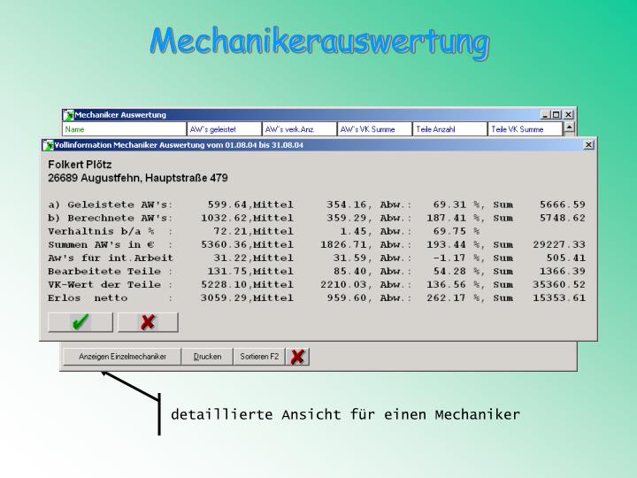 Mechanikerauswertung