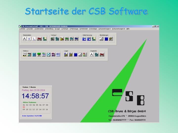 Startseite der CSB Software
