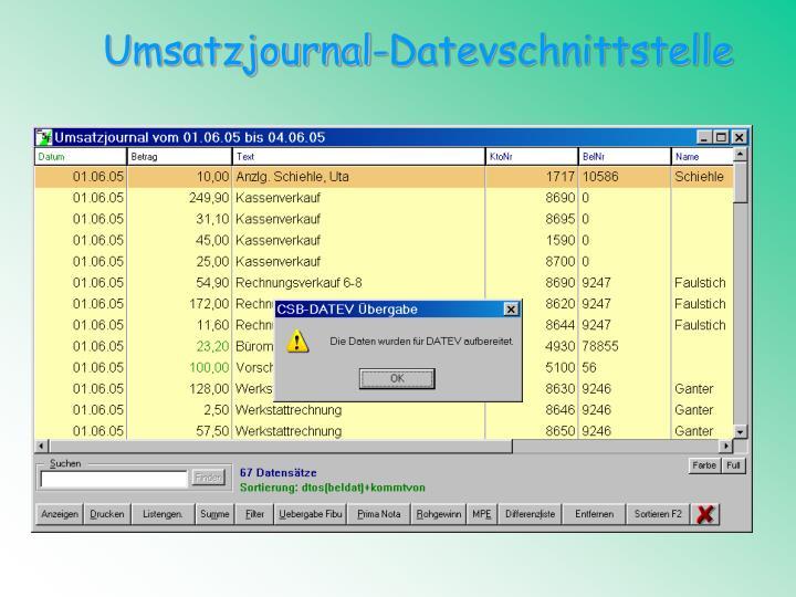 Umsatzjournal-Datevschnittstelle