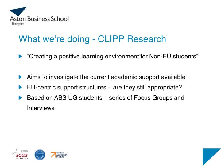 What we're doing - CLIPP Research