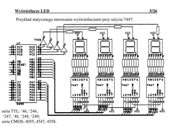 Przykład statycznego sterowania wyświetlaczami przy użyciu 7447: