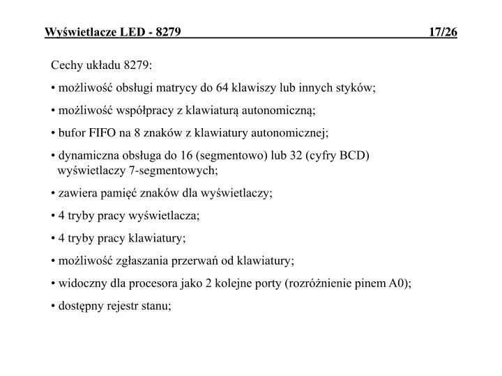 Cechy układu 8279: