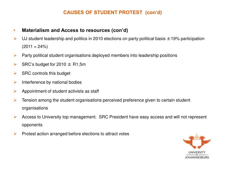 CAUSES OF STUDENT PROTEST  (con'd)