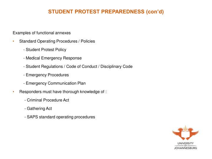 STUDENT PROTEST PREPAREDNESS (con'd)