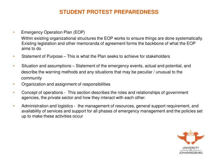 STUDENT PROTEST PREPAREDNESS