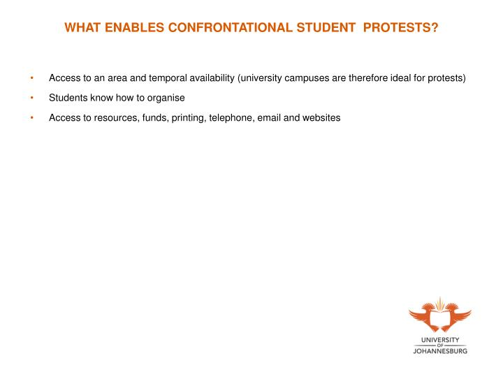 WHAT ENABLES CONFRONTATIONAL STUDENT  PROTESTS?