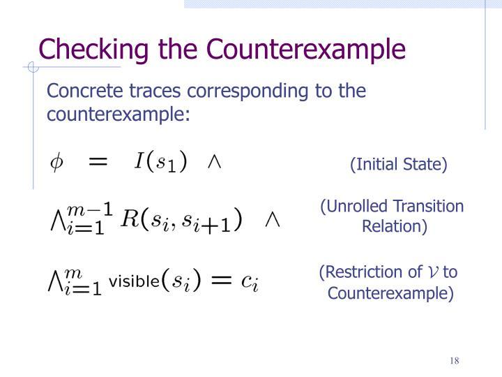 Checking the Counterexample