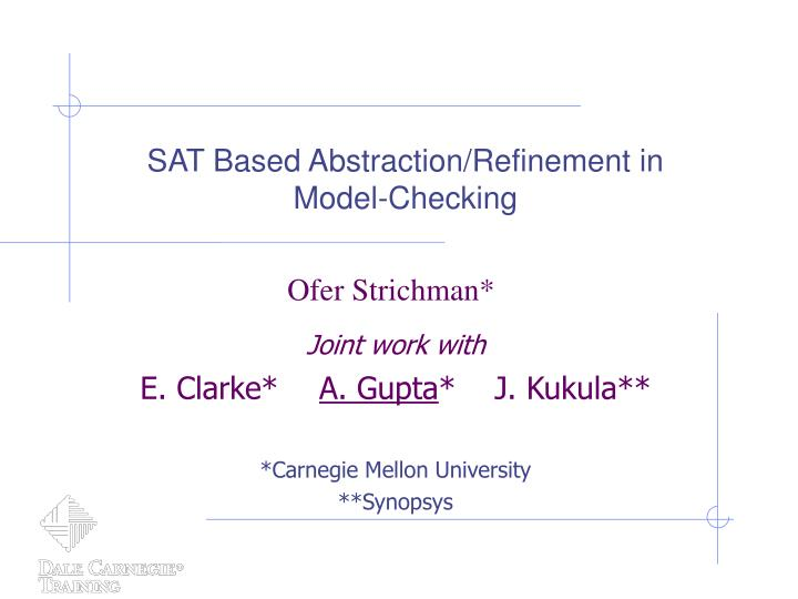 Sat based abstraction refinement in model checking