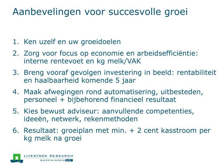 Aanbevelingen voor succesvolle groei
