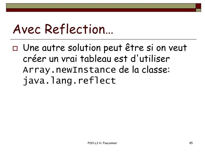 Avec Reflection…