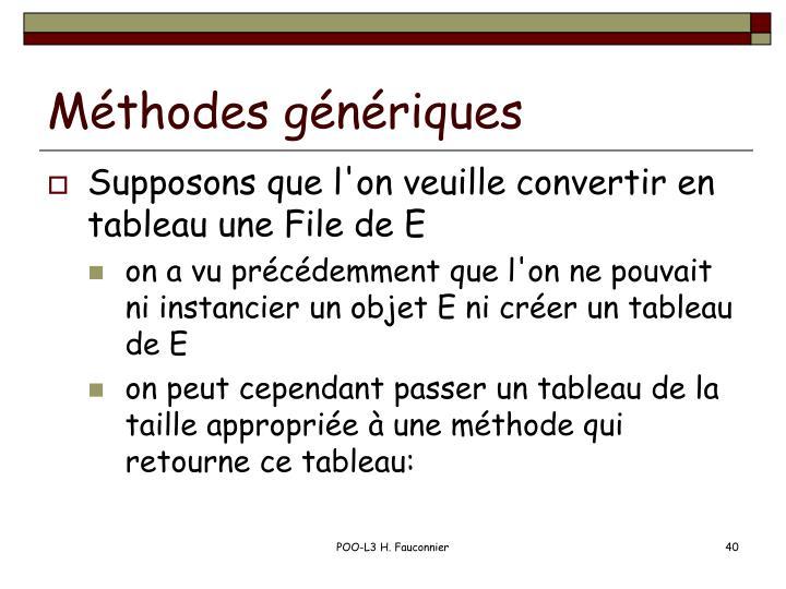 Méthodes génériques