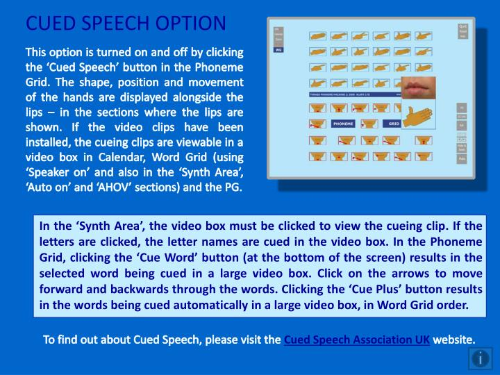 CUED SPEECH OPTION