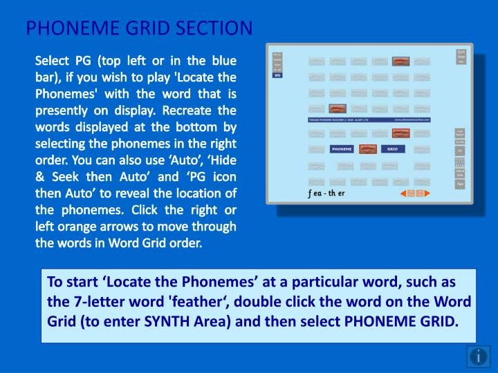PHONEME GRID SECTION