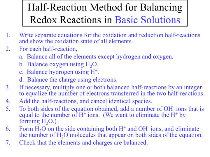 Half-Reaction Method for Balancing Redox Reactions in