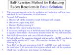 half reaction method for balancing redox reactions in basic solutions