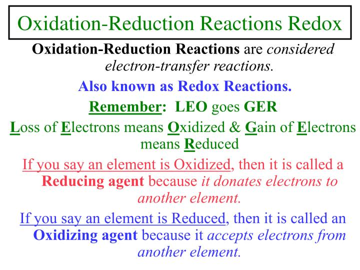 Oxidation reduction reactions redox