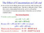 the effect of concentration on cell emf