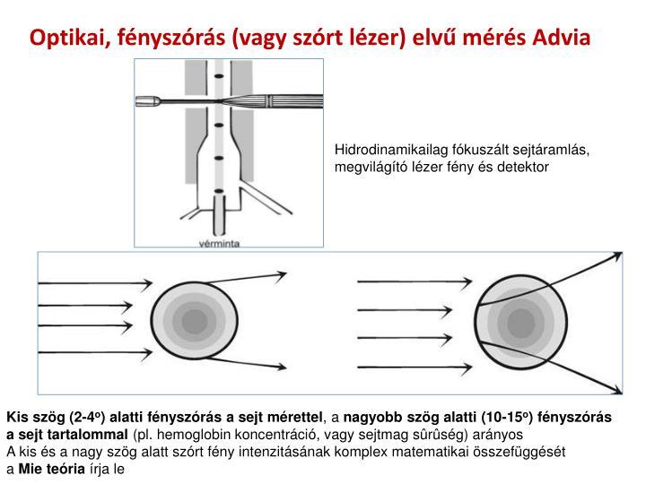 Optikai, fényszórás (vagy szórt lézer) elvű mérés Advia