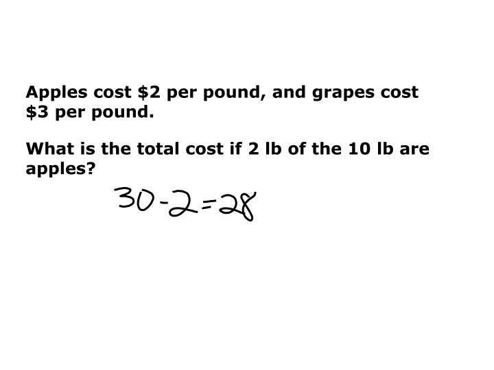 Apples cost $2 per pound, and grapes cost $3 per pound.