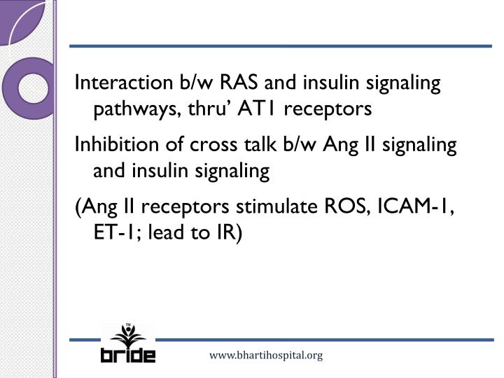 Interaction b/w RAS and insulin signaling pathways, thru' AT1 receptors