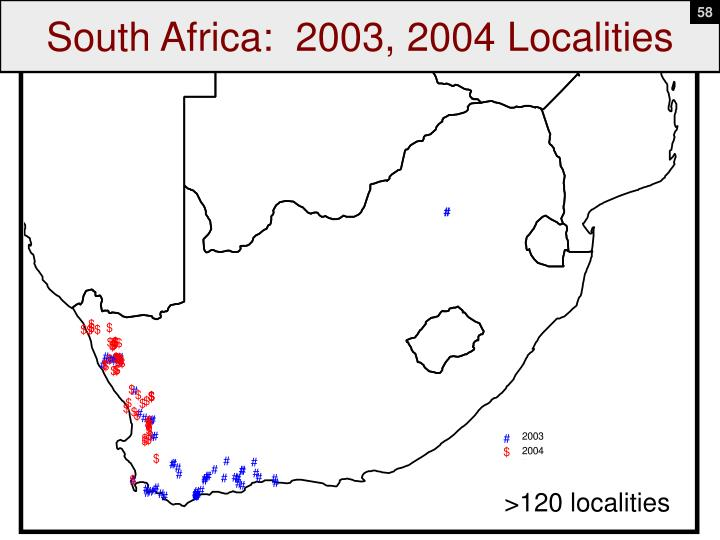 South Africa:  2003, 2004 Localities
