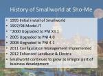 history of smallworld at sho me