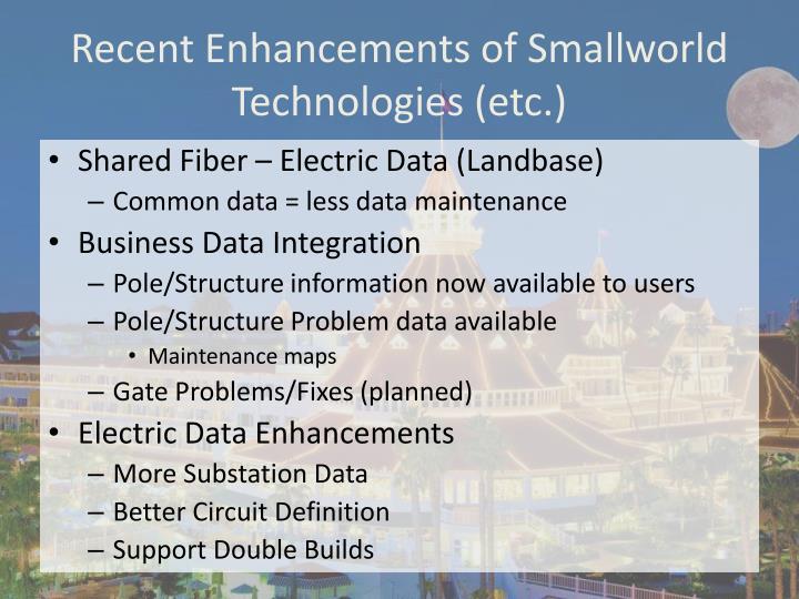 Recent Enhancements of Smallworld Technologies (etc.)