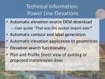 technical information power line elevations