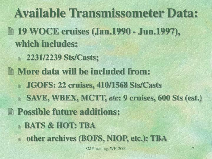 Available Transmissometer Data: