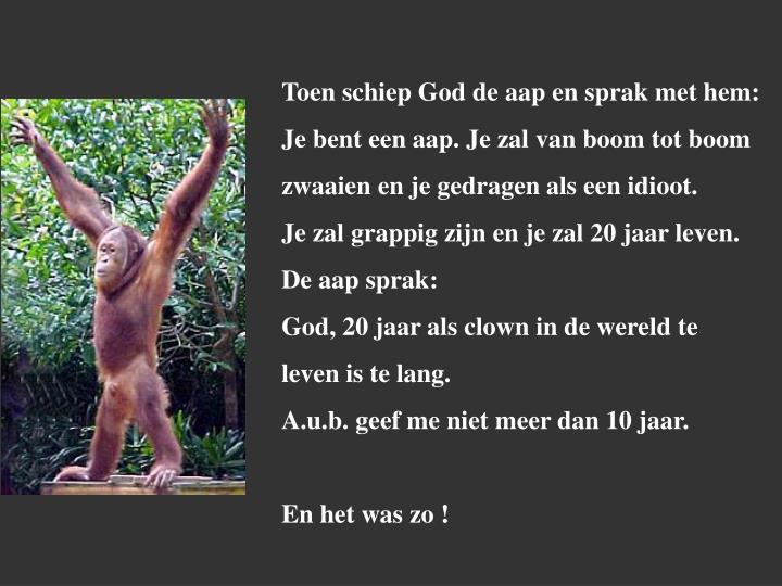 Toen schiep God de aap en sprak met hem: